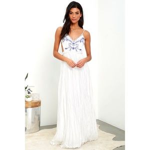 Lulu's Ivory Embroidered Maxi Dress